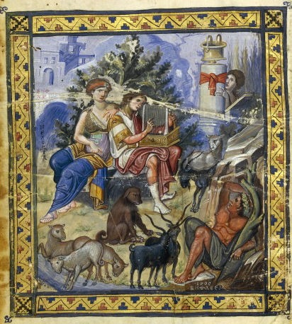 David Composing the Psalms,Paris Psalter, c. 900 C.E. Bibliothèque nationale de France, Paris. The  manuscript contains 449folios and 14 full-page miniatures. This illumination is an example of the kind of   of work produced during the Macedonian Renaissance of the 10th cent. During this period  there was a revival of the ancient Greek culture concerning literature, arts and education.  In painting, particularly, we can distinguish the revival of a Hellenistic  or Classical style.