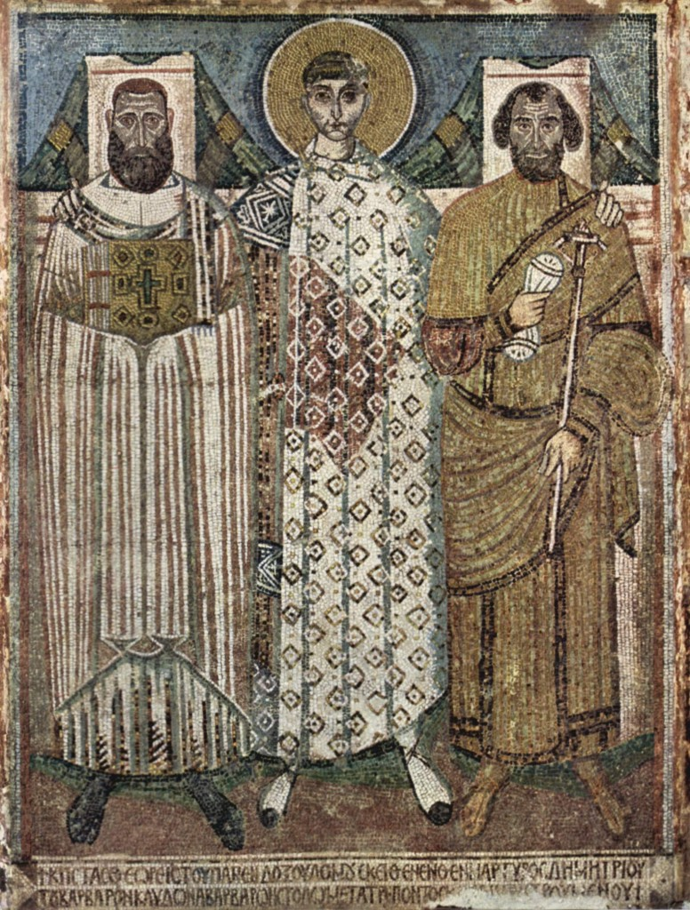 St. Demetrios with Donors, mosaics from the church of St. Demetrios, Thessalonki, 7th or early 8th cent.