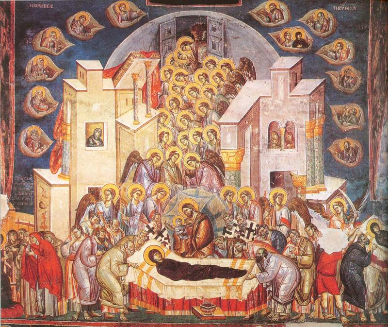 """Dormition of Theotokos, Fresco, 1294–1295. Peribleptos (St. Clement), Ohrid. Although we do find """"naturalism"""" in the icon it should not be mistaken for the kind of illlusionism found in post-Reconnaissance painting. As Aidan Hart suggests, it is better to think of the naturalism of the icon as """"realism"""". In this Dormition fresco find the iconographic """"realism"""" we are referring to, as compared to the """"illusionism"""" clearly seen in the painting above."""