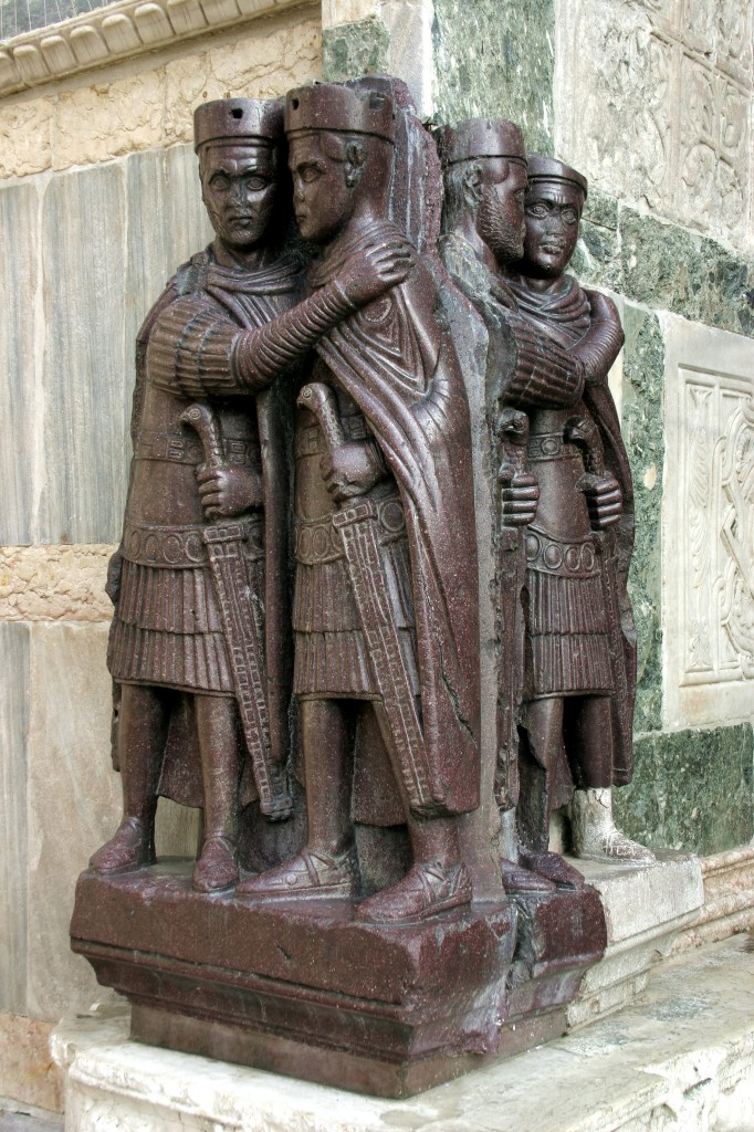 The Tetrarchs, porphyry sculpture, ca. 300 AD. Sacked from the Byzantine Philadelphion palace in 1204, Treasury of St. Marks, Venice.