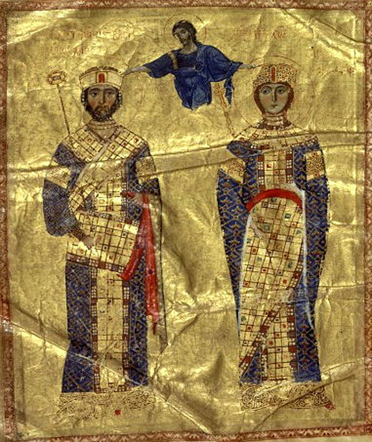 Coislin manuscript illumination of Michael VII Doukas and Maria the Alanian Crowned by Christ , from a collection of homilies of St. John Chrysostom, ca. 1072. Paris, Bibliotheque Nationale, MS. Coislin 79, fol. 2bis v.