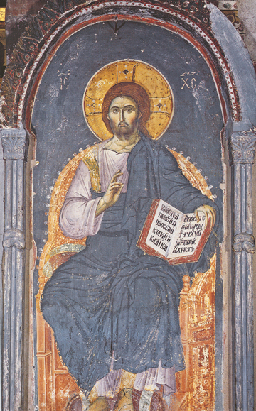 Christ Enthroned, Manuel Panselinos, 13th cent. Protaton Church at Karyes, Mt. Athos.  Here we have a style that leans more towards naturalism. It is a masterful example of the continuation of the classical Hellenic influence on the icon.