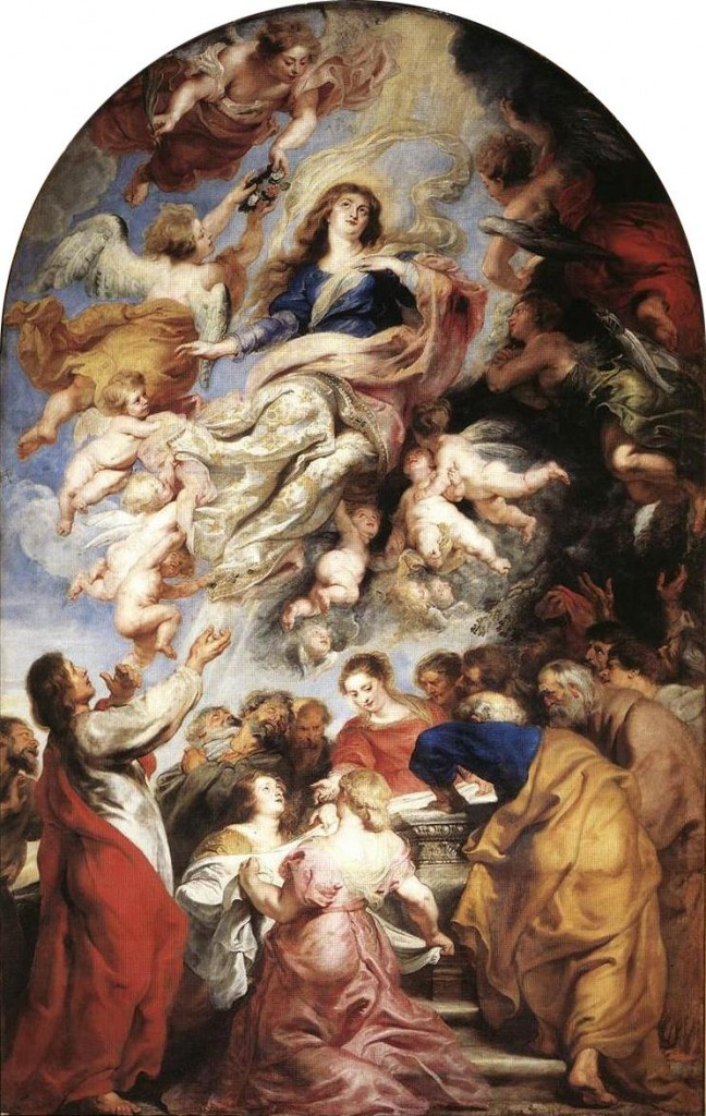 Assumption of the Virgin, by Peter Paul Rubens,1626. Oil on panel 190 in × 128 in. Cathedral of Our Lady, Antwerp.   A classic example of Baroque illusionism.
