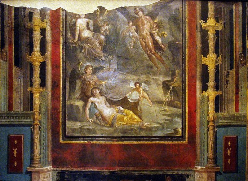 The Wedding of Zephyrus and Chloris 54–68 AD. Pompeian Fourth Style within painted architectural panels from the Casa del Naviglio.