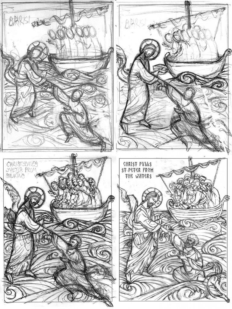 Drawing process of St-Peter on water