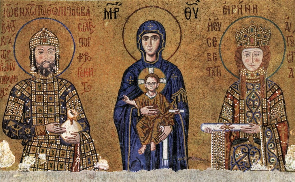 John II Comnenos and Irene Making Offerings to the Virgin and Child, mosaic in south gallery, Hagia Sophia, Constantinople.  The Theotokos palpably enters the court, whereas the rulers seems to merge into the golden heavenly light.