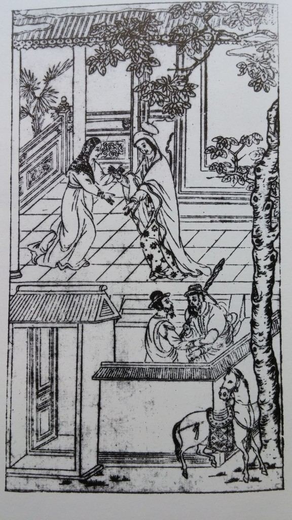 "The same scene as above ""in Chinese style"" in Giovanni da Rocha, Metodo del Rosario, 1620.  Ironically the colonizers became colonized. Seeing that perspectival representation was not working the Jesuits opted to adopt the Chinese methods of representation. As M. Scolari notes, ""For Chinese culture, parallel projection was a sort of symbolic form, profoundly rooted in a pictorial experience that knew almost no interruption until the recent past. Changing the way of seeing, and therefore of representating, meant changing the mode of thinking, which was a futile exercise as long as it was conceived in terms of a conversion from the outside. Additionally, the attempt to institute a single viewpoint contradicted the very roots of Chineese thought, in which man was not the measure of all things."" ( M. Scolari, Oblique Drawing, p. 348. See note ii)"