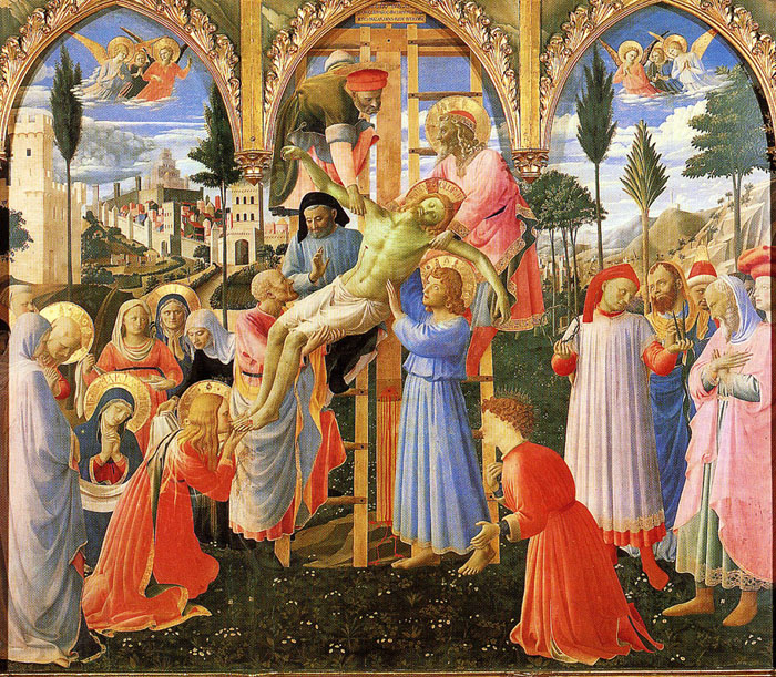 Deposition, by Fra Angelico, 1432-1434. Tempera on Panel, 69 in. × 73 in. National Museum of St. Marco, Florence. This painting was finished around four years prior to the council of Ferrara. So it gives us an idea of the kind of work Gregory Melissenos could have encountered.