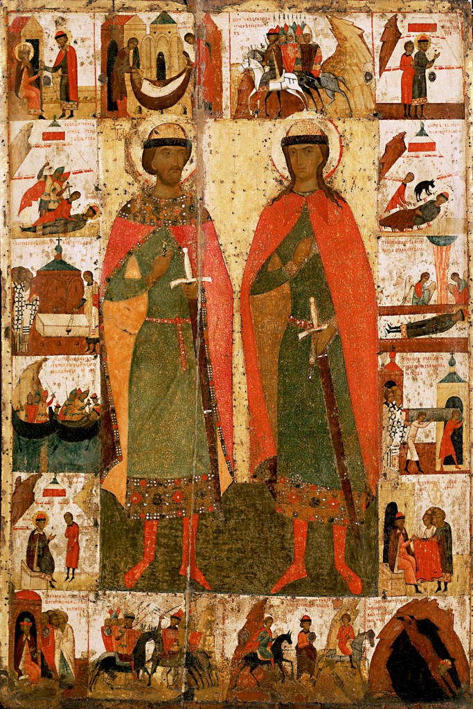 Saints Boris and Gleb with Scenes from Their Lives, 14th cent. 134 x 89 cm. From the Church of SS Boris and Gleb in Kolomna.
