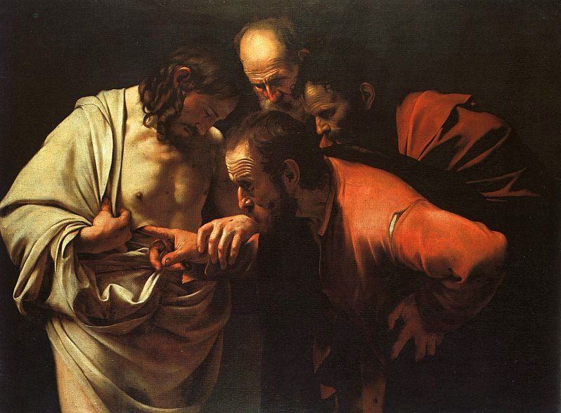 The Incredulity of St. Thomas, by Caravaggio, 1601-1602. Oil on Canvas,  42 in. × 57 in. Sanssouci, Potsdam. Proto-Baroque's crass physicality.