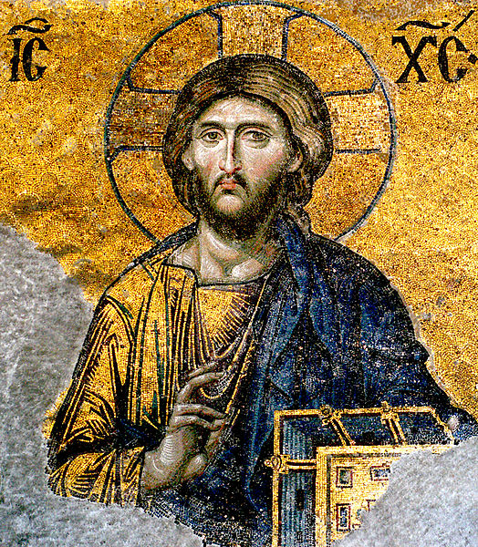 "Another detail that should be taken into consideration in this work is the use of figure/field interchange as we saw it used earlier in the mosaic of the Archangel Gabriel in the apse of Hagia Sophia. This photograph is particularly effective in showing how the Lord's golden chiton visually becomes one with the reflective gold back ground. His torso is as if continues with the golden light. The golden Gospel book cover further emphasizes this ambiguity. This is indeed a very effective way of literally, through the inherent properties of the materials used, to convey the Lord as the ""Light of the world."" So, once again, the point is that this mosaic both conveys the Lords corporeality and his divinity through the pictorial symbolism of ""dematerialization."" Here is an instance of an ""union without confusion or division"" of naturalistic and abstract means. Christ Pantokrator, Egg Tempera on Wood, 12th cent. 40 in. x 26 in. Holy Monastery of St. Catherine, Sinai. In a recent lecture on the use of light icons, the scholar of Byzantine art Robert Nelson Robert Nelson notes that subjects in both icons and naturalistic paintings are illuminated by reflective light. However, the medieval icon functions as if its illumination is internal and self-generated, whereas naturalistic paintings of the Renaissance create the fiction that its light source is outside the painting, continuous with our world. The icon through its gold does not represent light as much as gives off light itself. Symbolically the icon treats light as both physical and divine, while naturalistic painting represents it solely as a physical phenomenon."