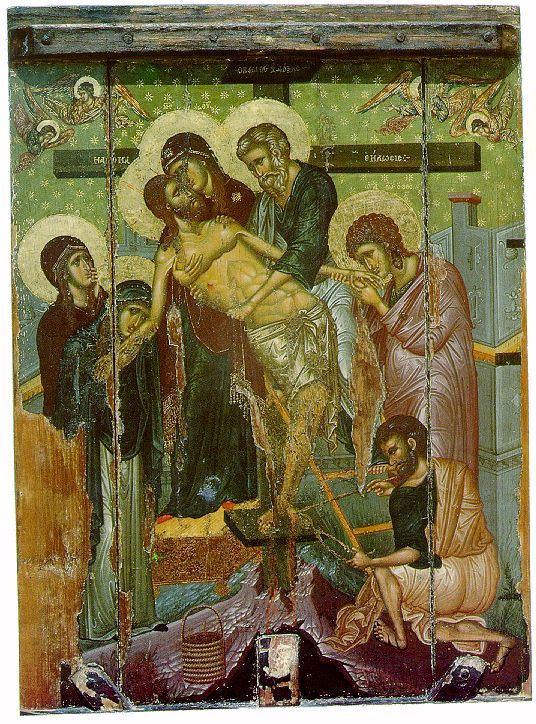 Descent from the Cross, Byzantine, 14th cent. From the Church of Saint Marina in Kalopanagiotis, Cyprus. This is the kind of image Gregory Melissenos would have been more familiar with.