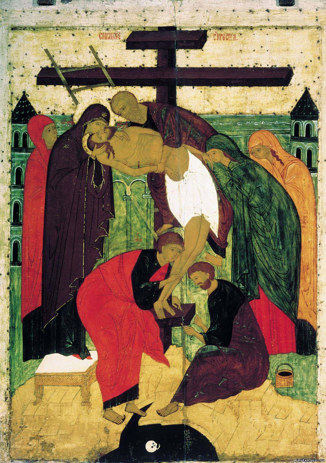 Descent from the Cross, Novgorod School, late 15th cent. Tretyakov Gallery, Moscow. Whereas volume predominates in the icon from Cyprus above, in this work flatness takes the lead. Yet, both icons are indeed more abstract than the Florentine work.