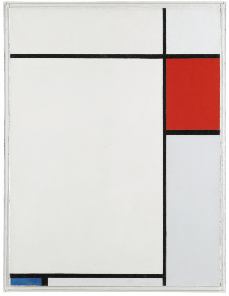 "Composition With Red, Blue And Grey, by Piet Mondrian, 1924. Here we see Mondrian's pursuit of ""pure abstraction."""