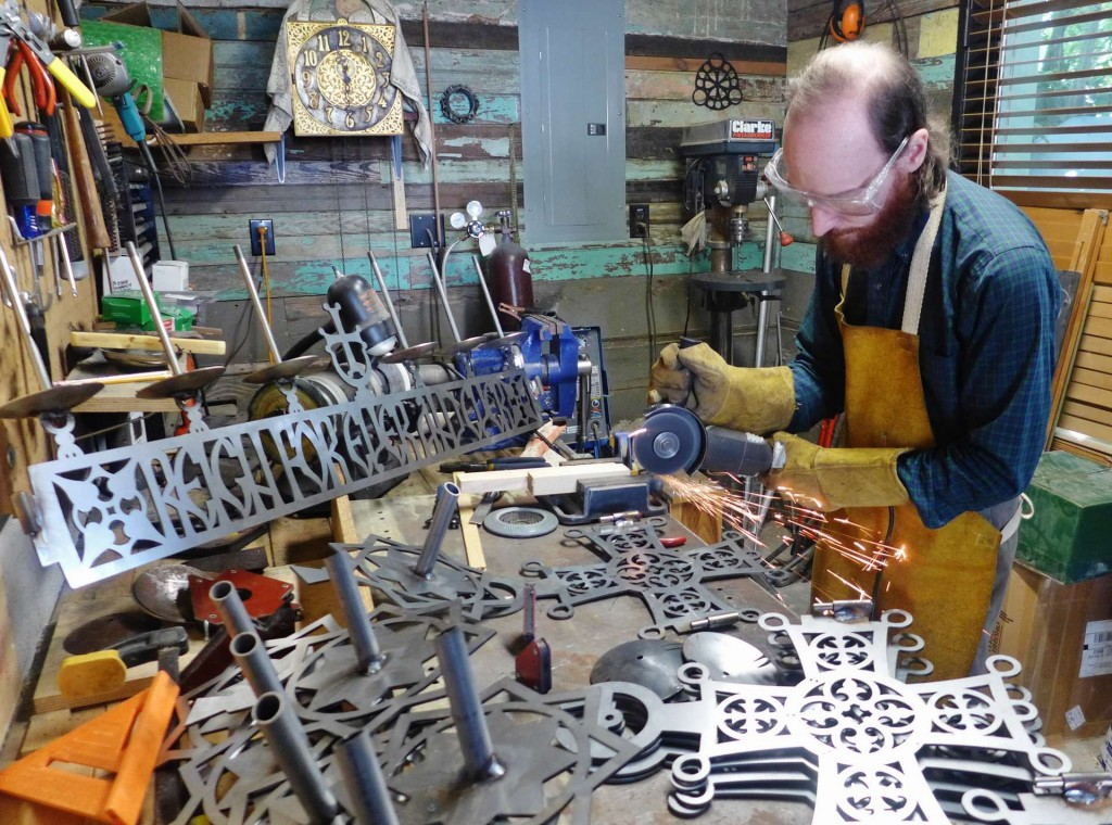 Andrew Gould in his workshop making the St. Alexis choros. Photo by Mother Nectaria McLees.