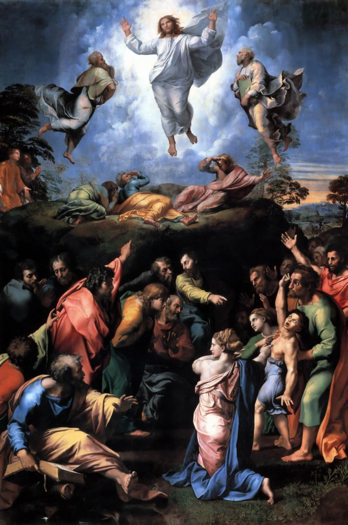 The Transfiguration, by Raphael, 1516-20. Tempera on wood, 159 in. × 109 in. Pinacoteca Vaticana, Vatican City.  Exemplary work of the High Renaissance.
