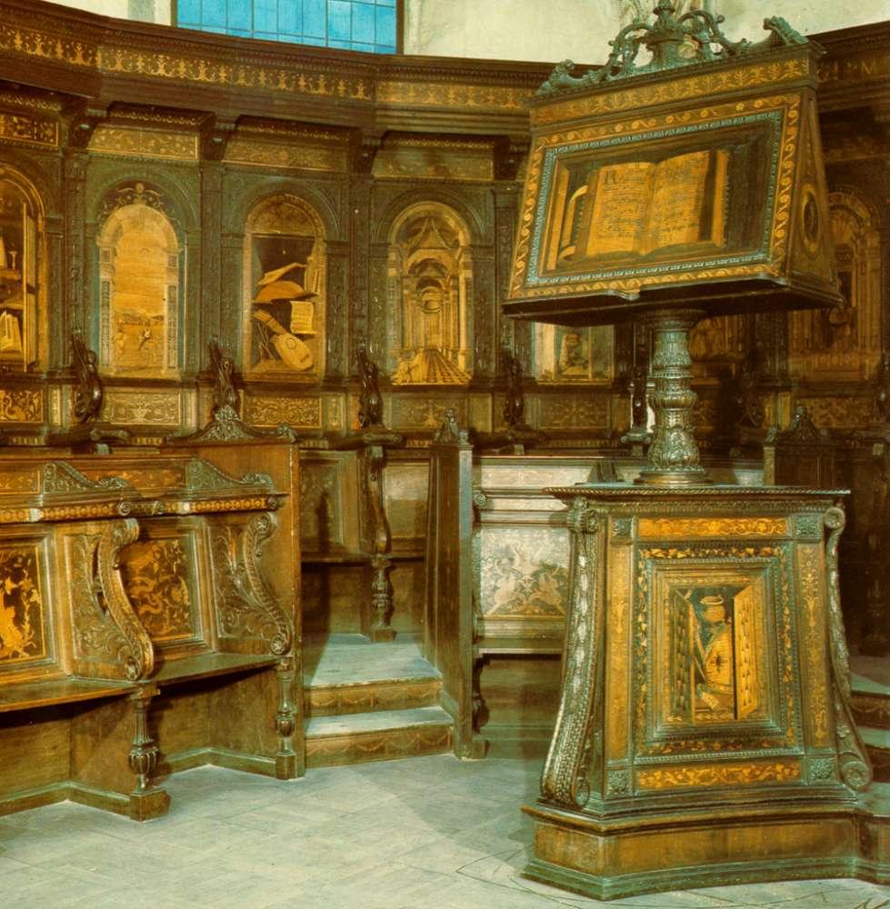 Choir stalls, Church of Santa Maria in Organo, Verona, Italy, 16th century.