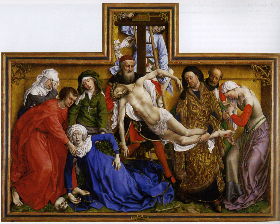 Descent from the Cross, by Rogier van der Weyden, ca. 1435. Oil on Oak panel, 220 x 262 cm. Museo del Prado, Madrid. This Early  Netherlandish work is contemporaneous to the  work shown above by Fra Angelico. Much more forceful in its emotionalism and less atmospheric than the Fra Angelico, but within the same ambit of Early Renaissance naturalism. If, on the one hand, Fra Angelico's work  retains some aspects of Byzantine influence, notice the gold halos on the figures to the left, on the other hand, Weyden's work has lost all traces of it.