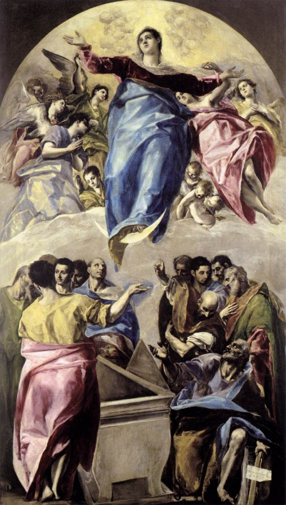Assumption of the Theotokos, by El Greco, 1577. 157.9 in x 90.2 in. Art Institute of Chicago. This was El Greco's first commission in Spain.