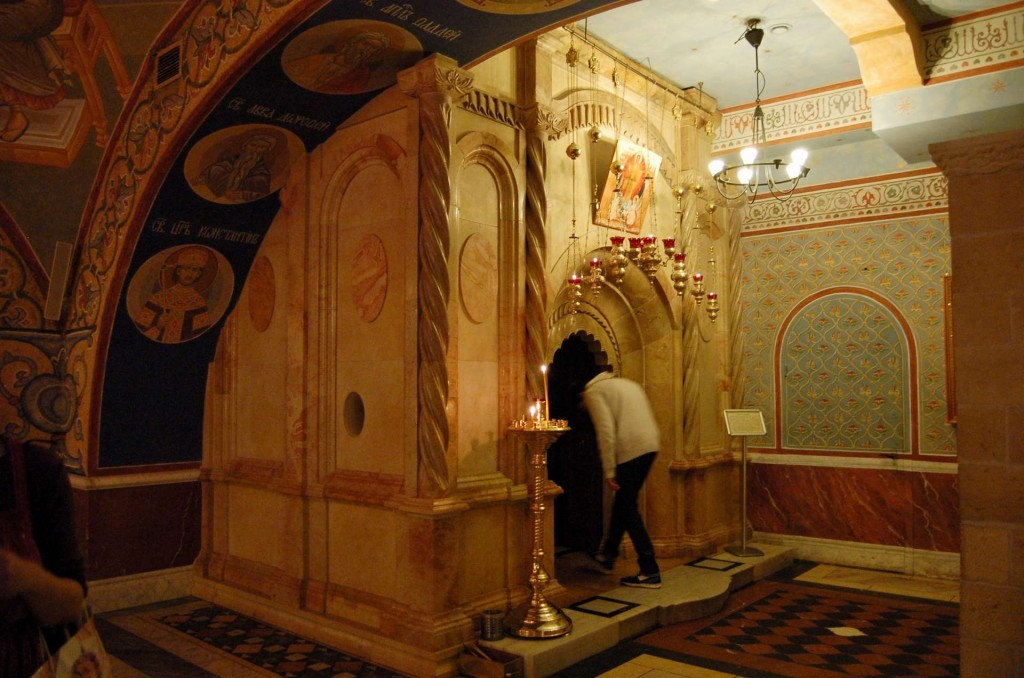 A replica of the Tomb of Christ, from the Church of the Holy Sepulchre.