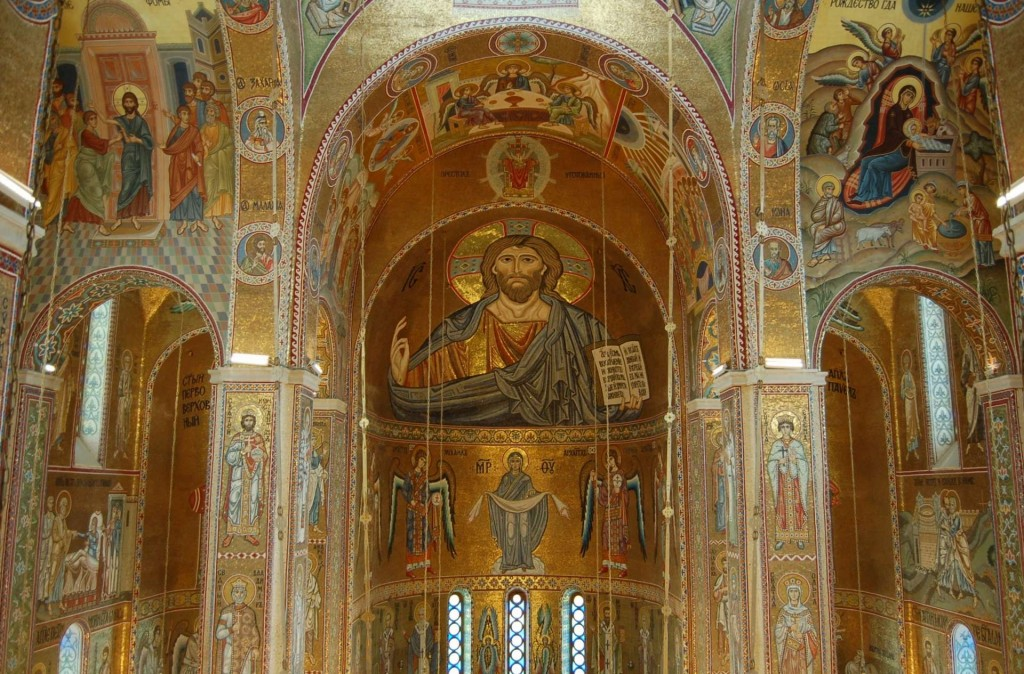 The Pantocrator apse mosaic, modelled upon that of the Palatine Chapel in Palermo.