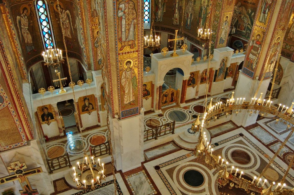 The splendid marble floor.