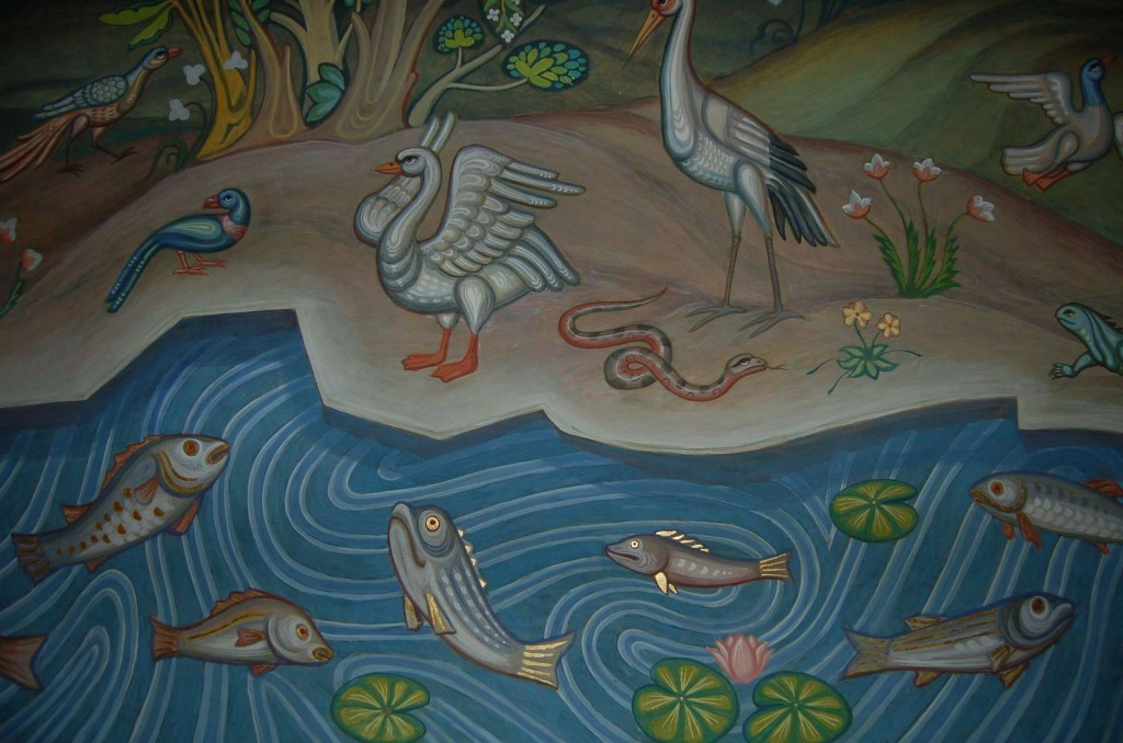 Detail of a mural depicting the Creation, on the upper gallery west wall.