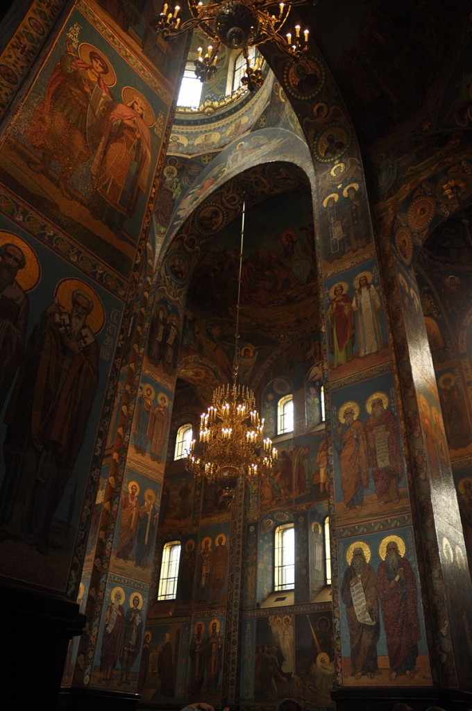 Interior of the Church of the Spilled Blood, Saint-Petersburg. begun to be built 1883 by Emperor Alexander III in memory of his father.