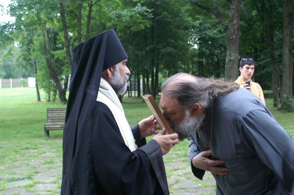 Also from the 2015 tour -  a priest venerates an icon after a memorial service in Butovo - a site of mass martyrdom.