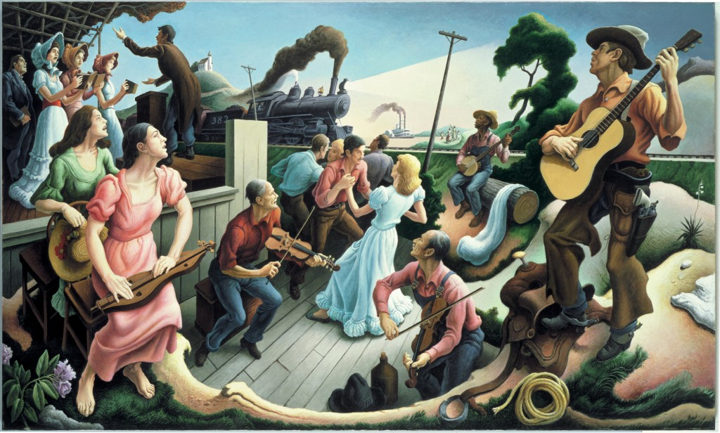 Sources of Country Music by Thomas Hart Benton.  A supreme example of American Regionalism. Benton was Pollock's teacher at the Art Student's league and Pollock often said that Benton's teaching gave him something to rebel against.