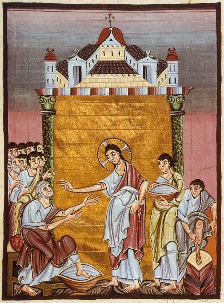 Jesus Washing the feet of Peter, Gospel Book of Otto III, Tempera on Vellum, c. 1000.
