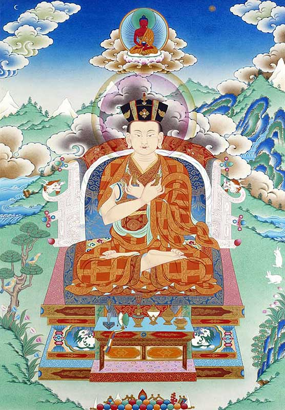In this Thangka we find pictorial devices that parallel the icons  shown above, such as the use of ethereal gradation, frontality and flat geometric patterning, all of which contribute to instill the image with a sense of the timeless. It could be said that this image is in some ways much more abstract than the icons. It seems to materialize out of mist and light. Yet, it is clear that both the icons and this Thanka take the device of gradated backgrounds to a non-naturalistic direction that is quite distinct from the examples of Romantic paintings shown above. This is even more so in the case of the Ottonian works shown below.