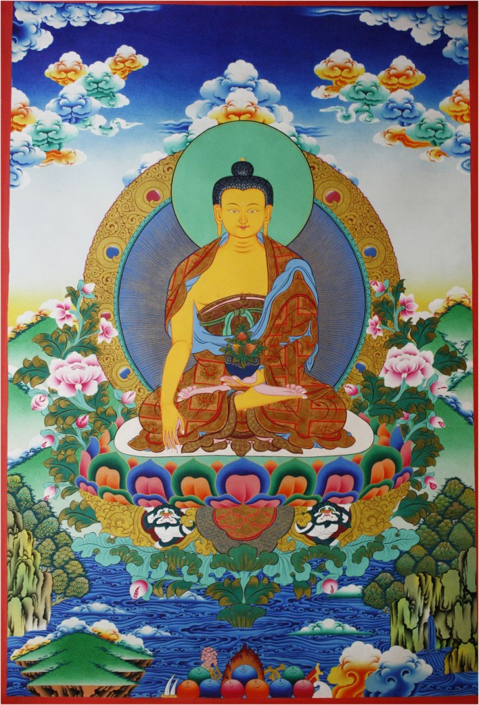 Contemporary Thangka of Buddha-Shakyamuni. Notice the transition from dark blue to light blue to yellow in the depiction of the sky. Although we do read the background as a sky, nevertheless, the way it is handled  brings it to a level that overcomes mere naturalism.