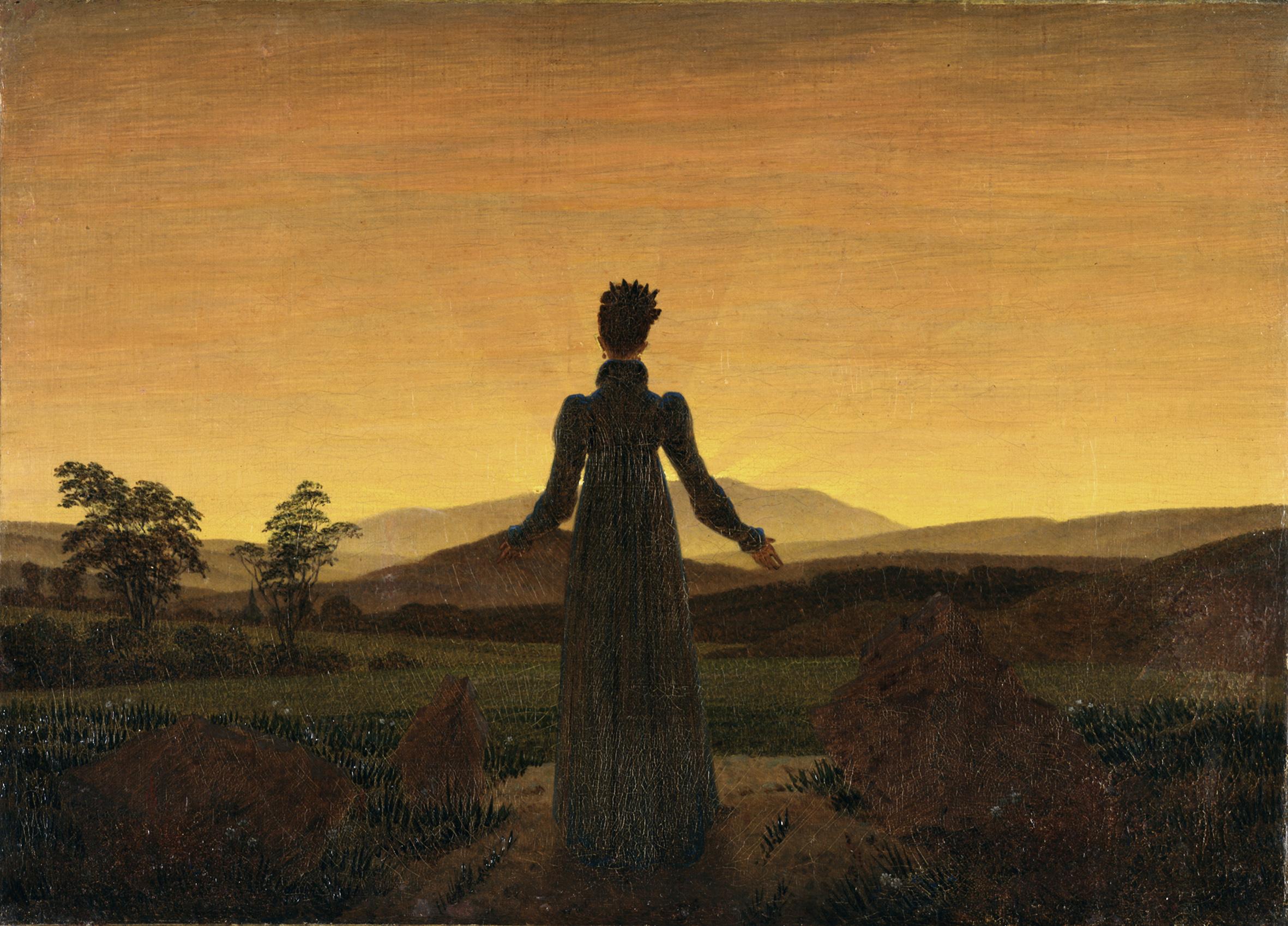 Caspar David Friedrich, Monk by the Sea, c. 1808–1810, oil on canvas. WIKIMEDIA COMMONS Caspar David Friedrich, Woman Before Rising Sun, ca. 1818, oil on canvas.