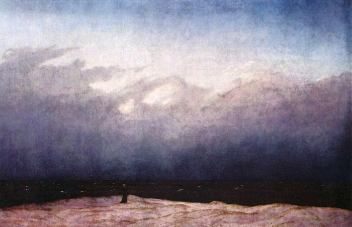 Caspar David Friedrich, Monk by the Sea, c. 1808–1810, oil on canvas. In this painting we find a classic example of the exploration of the aesthetic category of the Sublime in 19th century Romanticism. As the minuscule figure of the monk in this painting suggests, the quality of the Sublime involves an awe inspiring  and acute awareness of our seeming insignificance as we encounter the power and immeasurability of Nature. It therefore leads to pondering on that which surpasses the senses and comprehension and can even induce dread or terror. It thus involves an encounter with the numinous, -Nature as theophany.