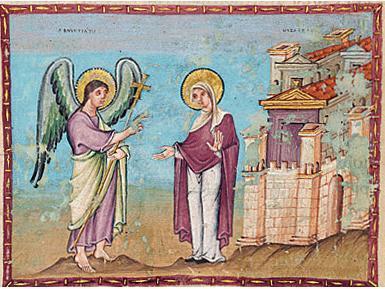 Annunciation, Codex Elberti, c. 10th cen. illumination. Ottonian.