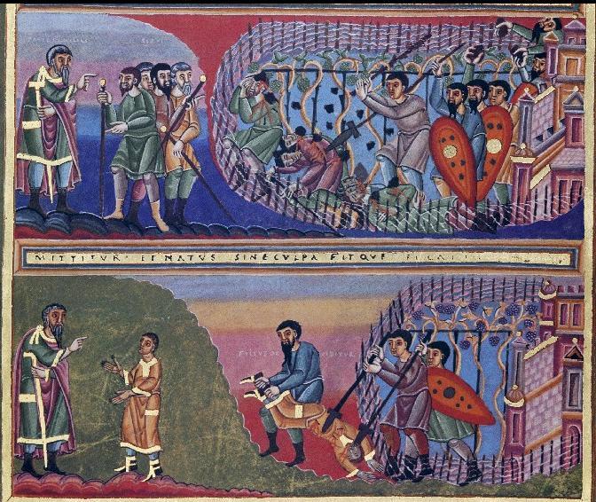 Parable of the Vine Keepers, Codex Aureus, c. 1030-1050. Germanisches Nationalmuseum, Nürnberg.