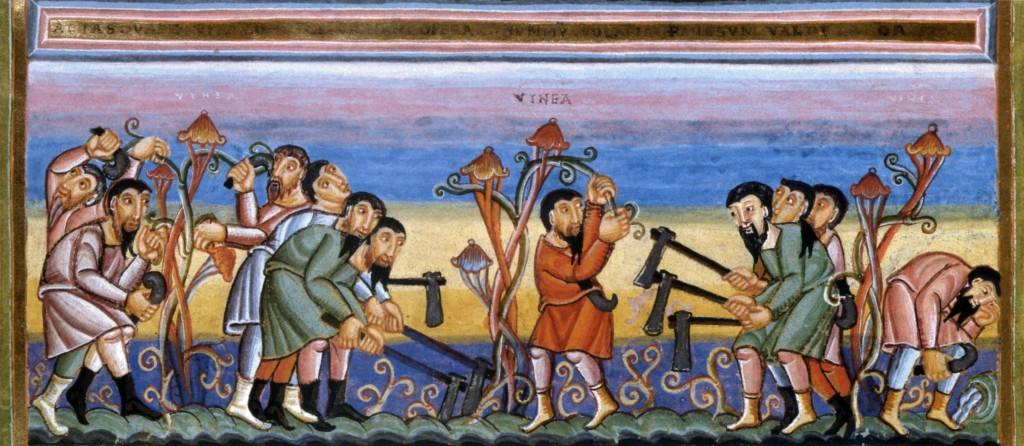 Vineyard Owner and Laborers (Parable of the Vineyard Owner), Codex Aureus Epternacensis, c. 11th cent.