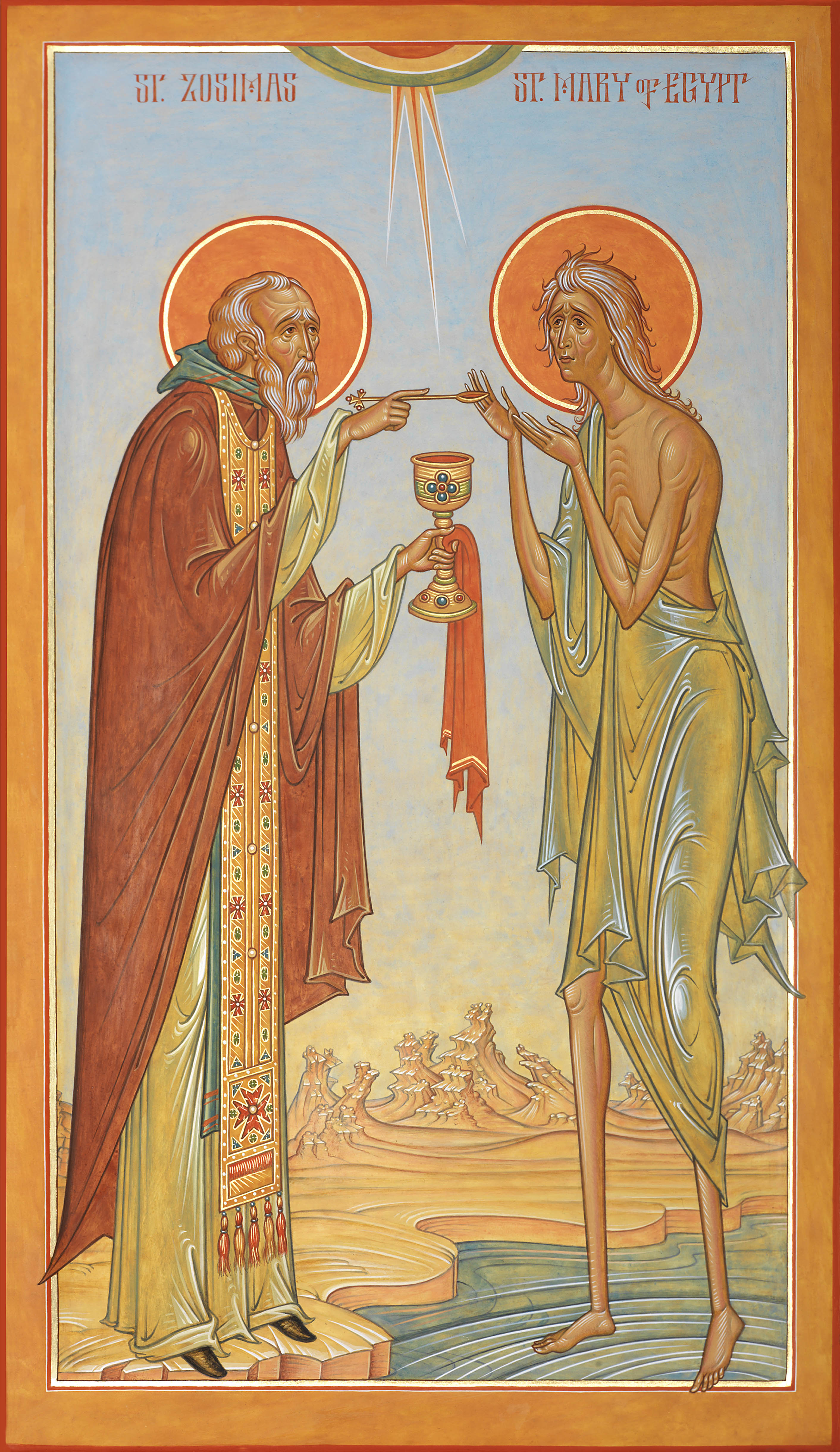 St. Mary of Egypt receiving the Holy Eucharist from St. Zosimas by Fr. Silouan Justiniano.  Egg tempera on wood, 10 7/8 in. x 19 in.