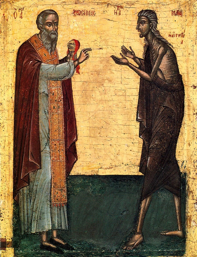 St. Mary of Egypt communing the Holy Mysteries from St. Zosimas. Icon of 16th cent. Monastery of Rousanno Meteora Greece.