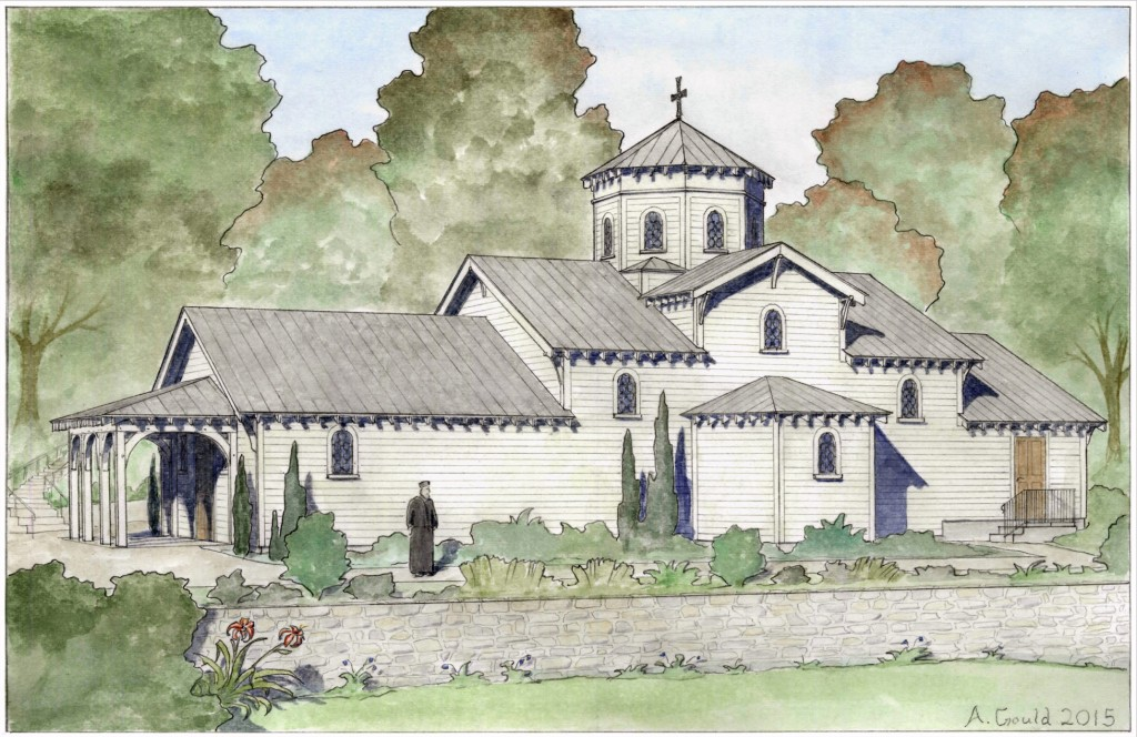 Proposed design for new chapel, Saint Gregory Palamas Greek Orthodox Monastery, Perrysville, Ohio. Designed and rendered by Andrew Gould.