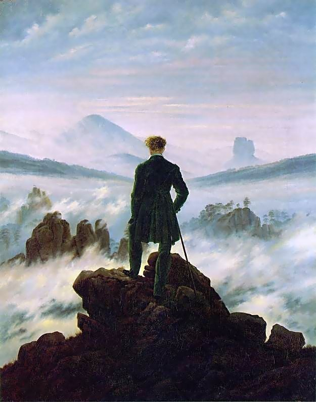 Caspar David Friedrich, Wonderer Above the Sea of Fog, c.1818. Oil-on-canvas 37.3 in × 29.4 in. Kunsthalle Hamburg, Hamburg, Germany.