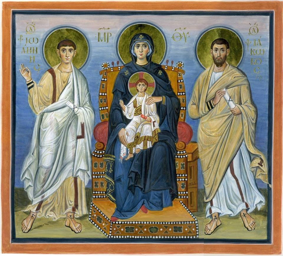 St. James and St. John with the Theotokos Enthroned. Contemporary icon by Anchimandrite Zenon.