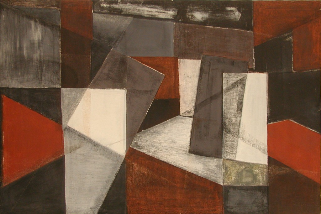 Markos Kampanis, Abstract Composition, 1975. Acrylic and pastel on Canvas, 100 x 150 cm.