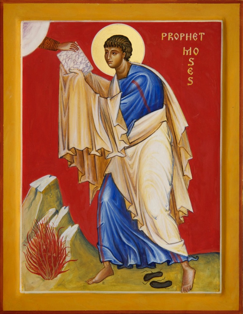 Moses and the burning bush. One task of the iconographer is to see and to help others see the whole creation transfigured, like the bush aflame with divine presence.
