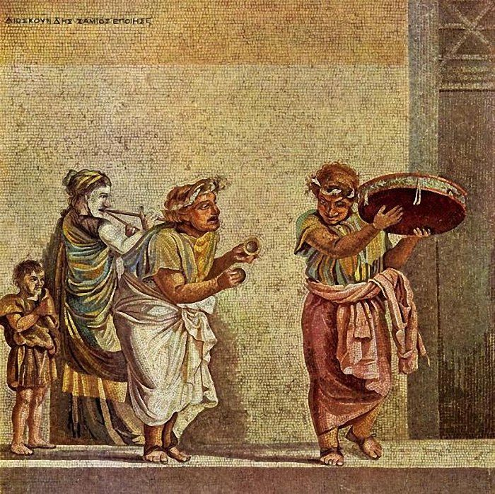 17. An example of Hellenistic art, showing its developed modelling of form and movement. 1st century BC Copy of a Hellenistic mosaic, produced by Dioskourides of Samos found near Pompeii (Villa of Cicero).