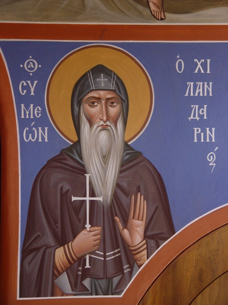 19. St Simeon of Chilandar. Wall painting in Simonopetra, Mt. Athos, by Archimandrite Zenon. The face shows a union of serenity, ascetic struggle, joy, and sorrowful compassion.