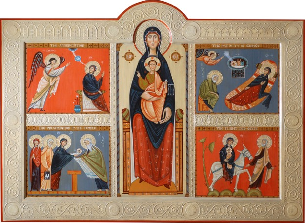 Feasts of the Virgin, by Phil Davydov and Olga Shalamova. This icon shows a very modern reduction of background detail and decoration to a minimum, whilst retaining the essential symbolic elements.