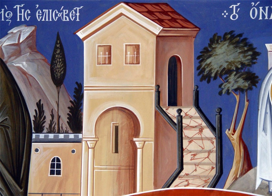 Detail from a wall painting, showing some of the forms of perspective used in iconography: multi-view, inverse (the roof), enigmatic (the stairs). Simonopetra Monastery, Mount Athos, by Archimandrite Zenon.