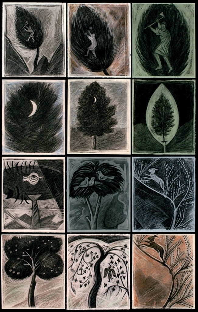"Markos Kampanis, Stories of the Tree, from the series ""A Museum of Trees,"" 2005. Drawings on paper, 103 x 66 cm."